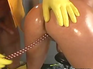 angelica sin oiled and anally screwed