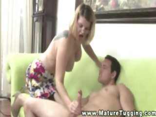 older blonde d like to fuck gives tugjob to