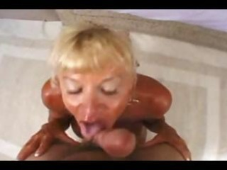 slutty granny with large meatballs receives