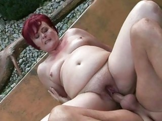 chunky grandma enjoying hard sex