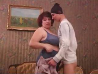 overweight older housewife catches thief and