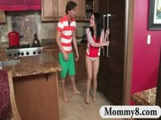 Stepmom milf busts teen couple fucking in her