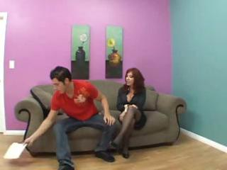 Redhead milf needs money so she goes with him to