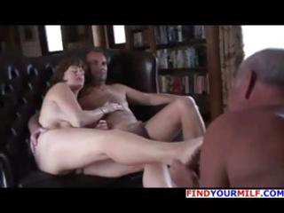 Old dude is getting cuckolded and licks the feet