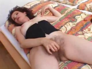Hairy mother loves cock