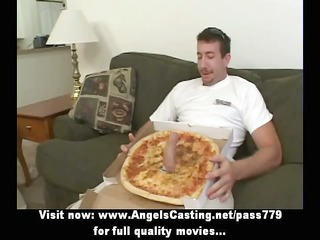 hot bored blond does blowjob for pizza boy with