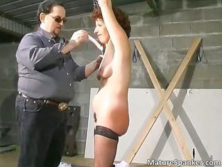 hot brunette slut acquires bound