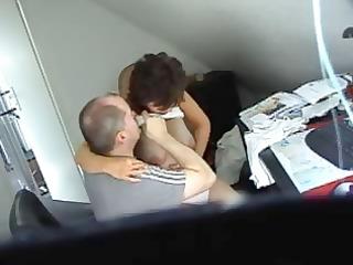 horny dark brown secretary gets caught on spy cam