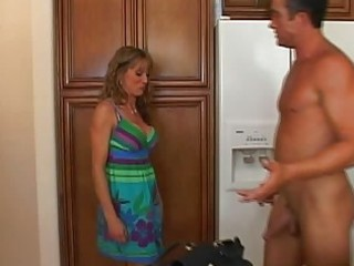 Adorable blonde milf with big boobs doing great