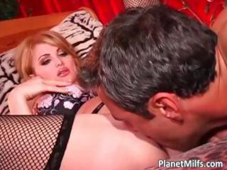 blond mother i in black stocking gratifying