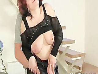 older redhead with big milk sacks acquires that is