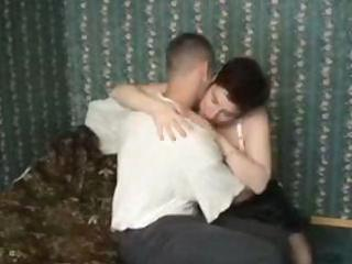 Chubby mature gets a young man to fuck her and