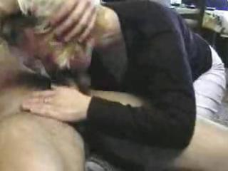 mature russian blond and a young stud receives