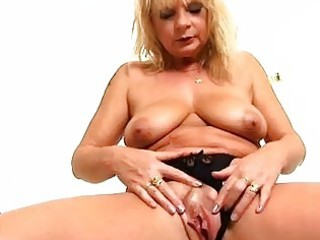 mature blonde rosalyn plays with herself in the
