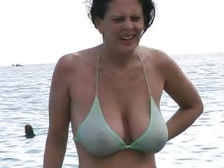 hawt milf in bikini at the beach