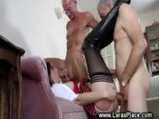 aged lady in stocking fucks two old guys