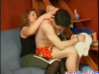 chunky mature blonde and lad go at it and she is