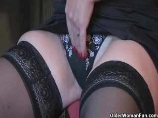 granny pleasure plays with her sex-toy collection