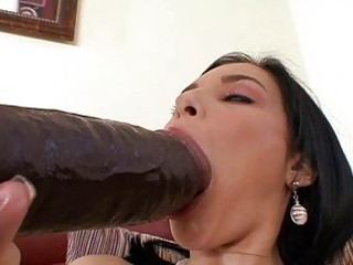 Tanned brunette momma masturbating with big dildo
