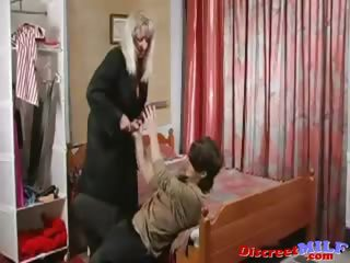 older russian cougar drilled by dildo and cock