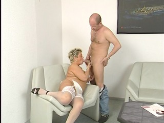 overweight older housewife squirms