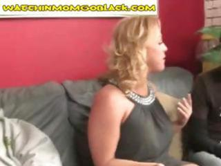 Blonde mom goes down on his big black cock and