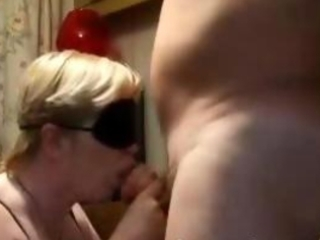 blindfolded aged gives bj and gets doggystyled
