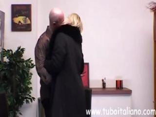 older italian busty golden-haired eats his cock