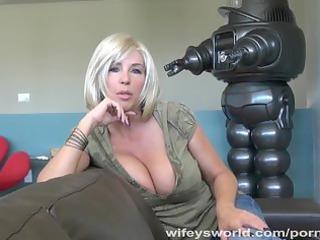 wifeys world - breasty neighbour sucks cock and