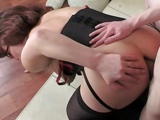 mom wearing nylons for her anal workout