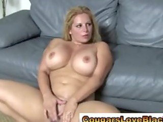 cougar plumper acquires double interracial jizz