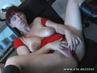 breasty non-professional wife plays with herself