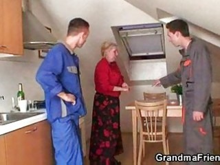 repairmen bang breasty grandma from the one and