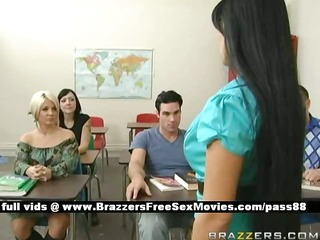 breasty brunette teacher at school going