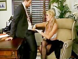 breasty boss sucks cock in her office