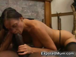 sexy milf in glasses deepthroating black part10