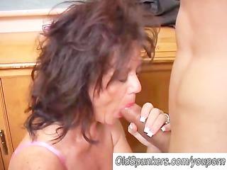 gorgeous older honey gives a blow job lesson