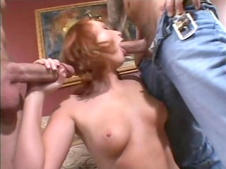 milf redhead receives a double dicking-