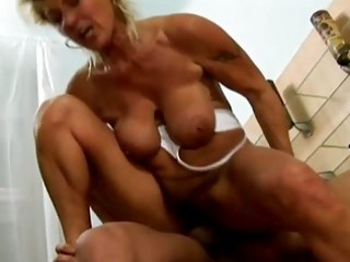 granny on top riding cock
