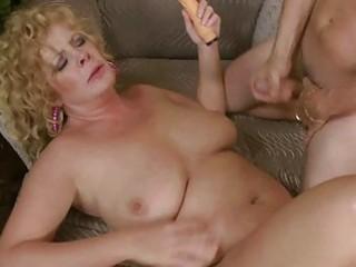 busty older lady slurps on biggest obese prick