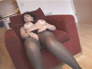 silly fake breasts older in pantyhose and nylons