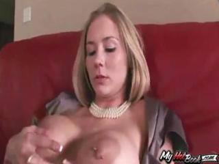 blond milf, mackenzie star playing with her big
