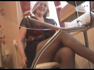 curly granny in hose striptease