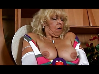 granny in white nylons plays with fur pie