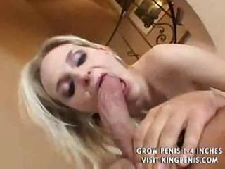 Busty blonde milf sucks a cock and then fucks it