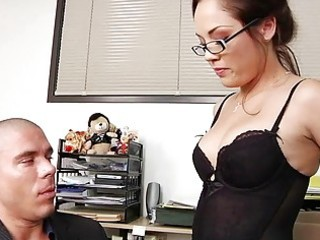 Very sexy milf boss plays with her manager