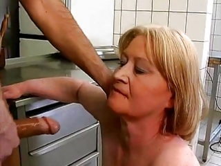 chubby granny fuck and fellatio with food