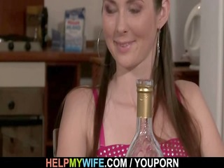 sexy wife cucks hubby with pizza lad