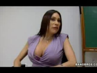busty milf teacher shows her students what a real