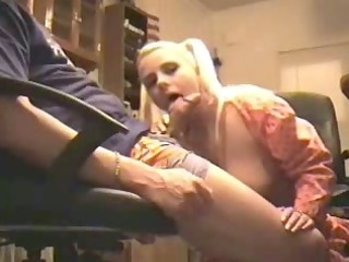 pigtailed blond wife sucks at home